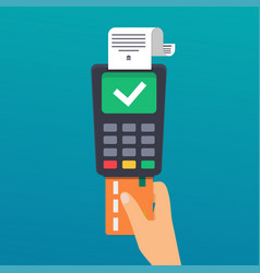 Payment hand holding credit card of wireless vector