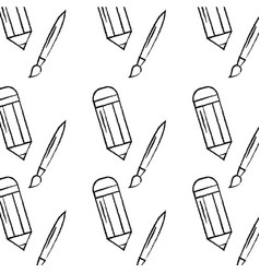 Pencil and paint brush school supplies pattern vector