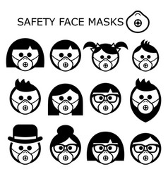 people wearing safety face masks icons set vector image