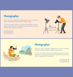Photographers of landscape and still life banners vector