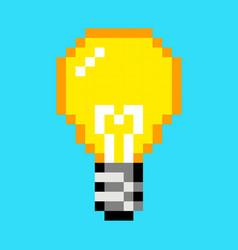 pixel light bulb idea art cartoon retro game style vector image