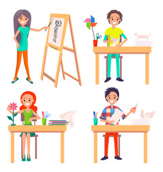 Process of creating art picture and making origami vector