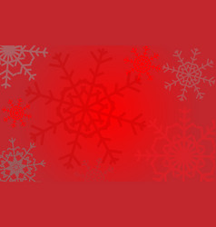 red christmas winter background with snowflakes vector image