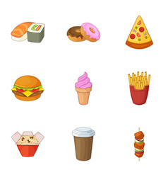 Restaurant food icons set cartoon style vector