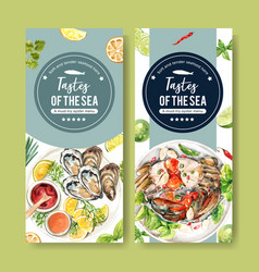 Seafood flyer design with oyster mud crab vector
