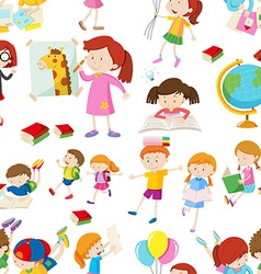 Seamless background with children reading and vector image