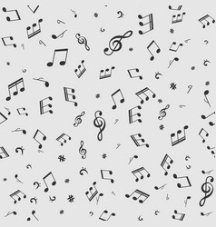 seamless pattern with music black notes on white vector image