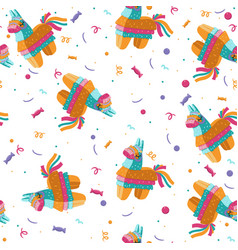 Seamless pattern with pinata on a white vector