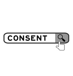 Search banner in word consent with hand over vector