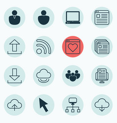 Set of 16 internet icons includes local vector