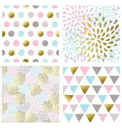 Set of abstract seamless patterns in gold color vector