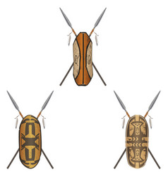 Set of african shield warrior different tribes vector