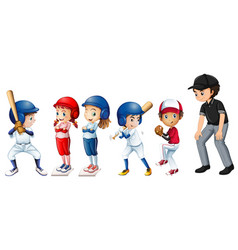 set of baseball kids vector image
