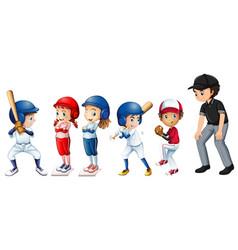 set of baseball kids vector image