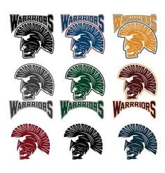 set of skull in spartan helmetwarriors emblems vector image