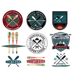 set vintage expedition labels and logo vector image