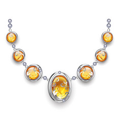 Silver necklace with amber vector