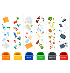 sorting garbage in containers for processing vector image