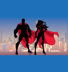 superhero couple standing city silhouettes vector image