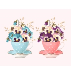 Teacup with pansies vector