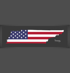 Tennessee map with american national flag vector