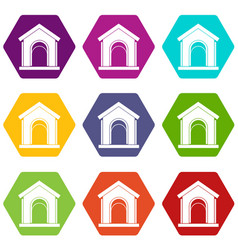 toy house icon set color hexahedron vector image