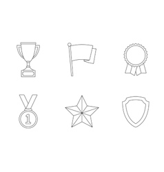 Trophy and awards outline icons vector image