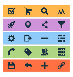 user icons set with task setting launch and vector image