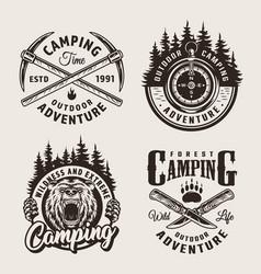 Vintage monochrome camping summer labels vector
