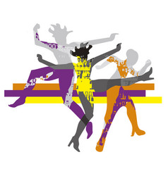 wild dance party modern dance group vector image