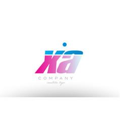 Xa x a alphabet letter combination pink blue bold vector