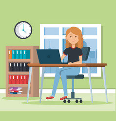 young woman in the workplace scene vector image