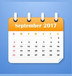 european calendar for september 2017 vector image vector image