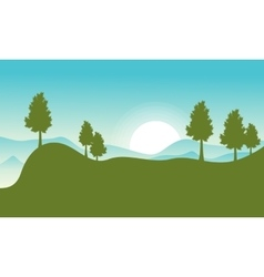 flat of hill with sun landscape vector image