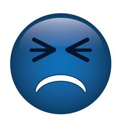 Unhappy face emoticon funny icon vector