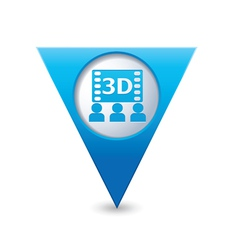 3d cinema icon pointer blue vector image vector image