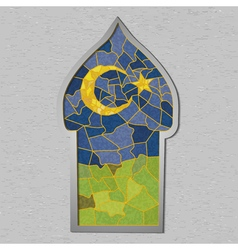 Beautiful mosque in colored stained glass with vector image