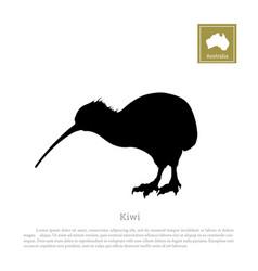 black silhouette of kiwi bird animals of australia vector image