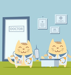 Character doctor in medical coat with a vector