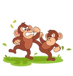 chimpanzee fight cartoon vector image