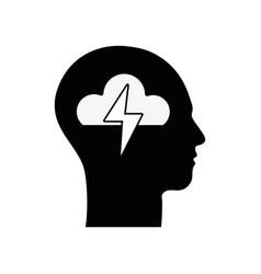 Contour silhouette head with cloud and ray inside vector