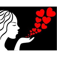girl blows the hearts vector image