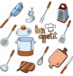 Hand drawn doodle sketch kitchen utensils for vector image