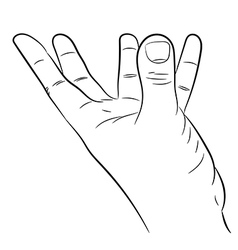hand with fingers outstretched support on white ba vector image vector image