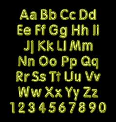 Neon glow alphabet design party retro 3d art font vector image