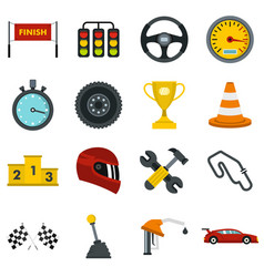 racing speed set flat icons vector image vector image