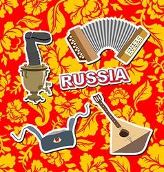 Set russian icons Balalaika Samovar Ushanka vector image