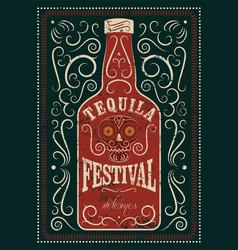 Typographic retro grunge tequila festival poster vector