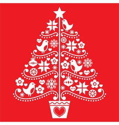 Christmas tree design - folk style with birds vector image vector image