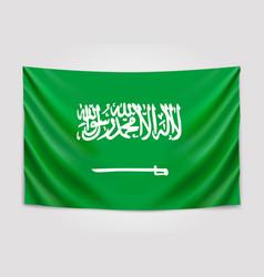 hanging flag of saudi arabia kingdom of saudi vector image